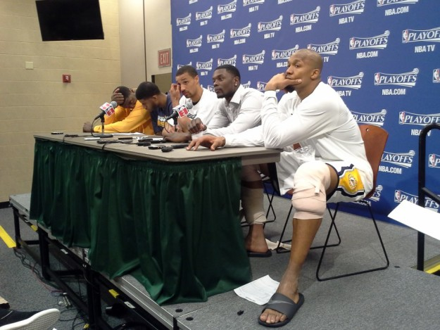 The Pacer starters attend the postgame press conference together after eliminating the Knicks in 2013.