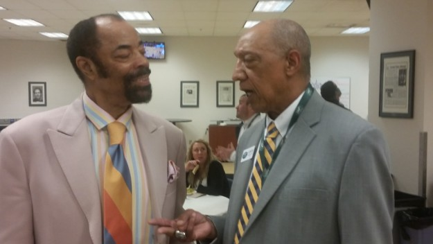 Former opponents Walt Frazier and Larry Humes renew their acquaintance before a Pacers game in 2016. They played against one another in college, Frazier at Southern Illinois and Humes at Evansville. Frazier went on to become an NBA Hall of Famer while Humes was one of the final players cut by the Chicago Bulls and Pacers. Frazier is now part of the Knicks broadcast team while Humes works as an usher at Pacer games.