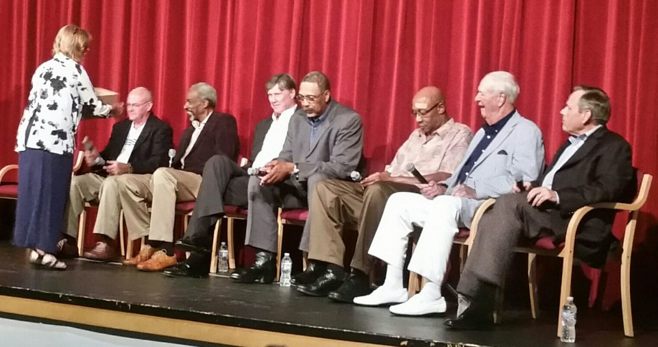 Members of the ABA Pacer teams gather for a fundraiser in the summer of 2015. Billy Keller, Darnell Hillman, Bob Netolicky, Mel Daniels, George McGinnis, Slick Leonard and David Craig.