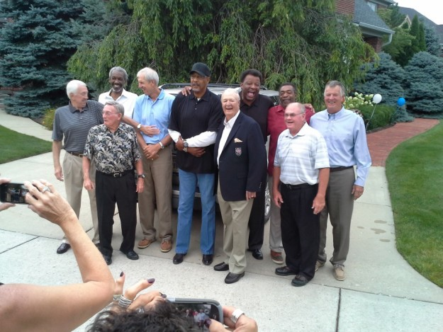 People formerly associated with the Pacers gather to honor Slick Leonard before his induction into the Hall of Fame in 2014.
