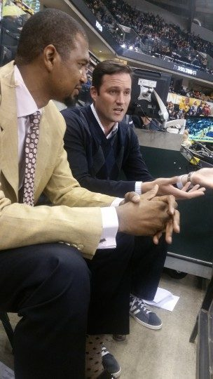 Former teammates Jonathan Bender and Austin Croshere talk during a recent Pacers game. Croshere was in town for a few days with his wife, an Indianapolis native.