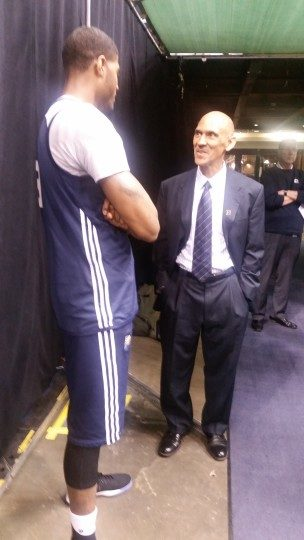 Former Colts coach Tony Dungy dropped by a Pacers practice in the 2015-16 season and chatted with Paul George.