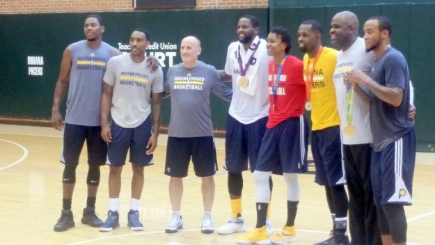Tamika Catchings poses with some Pacers following one of their September workouts and a couple of days before her final game with the Fever. Left to right: Glenn Robinson III, Jeff Teague, Dan Burke, C.J. Miles, Catchings, Rodney Stuckey. Cropped out of the picture are Nate McMillan and Monta Ellis.
