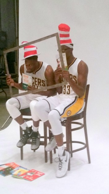 Thad Young and Myles Turner perform Media Day duties in 2016.